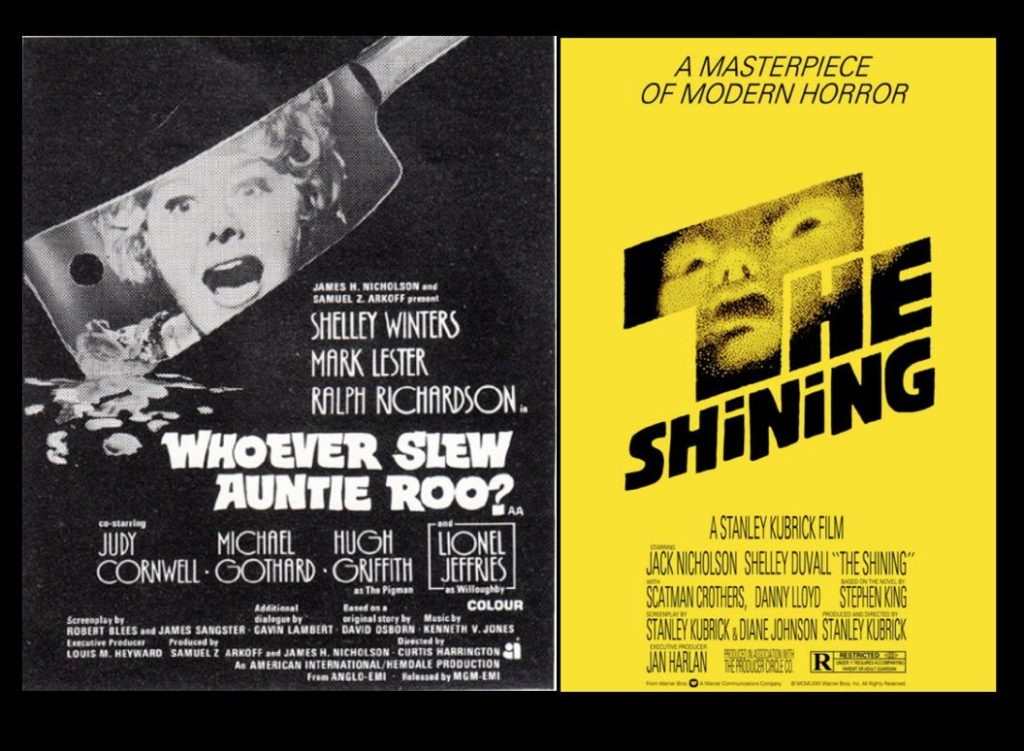 AUNTIE ROO and THE SHINING posters