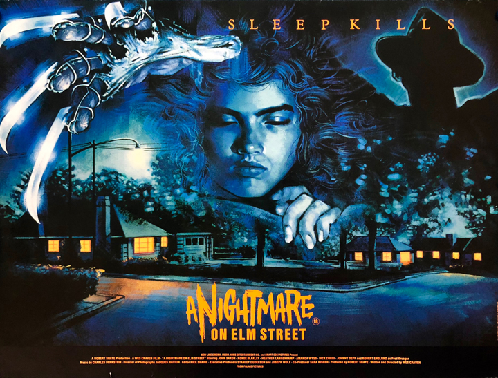 UK poster for 1984's A NIGHTMARE ON ELM STREET
