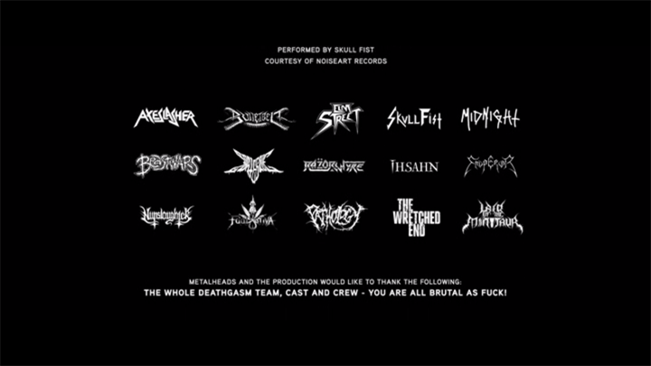 Incredible Thank You section of the credits for DEATHGASM