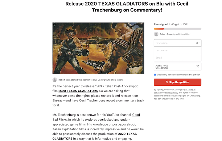 2020 TEXAS GLADIATORS Petition