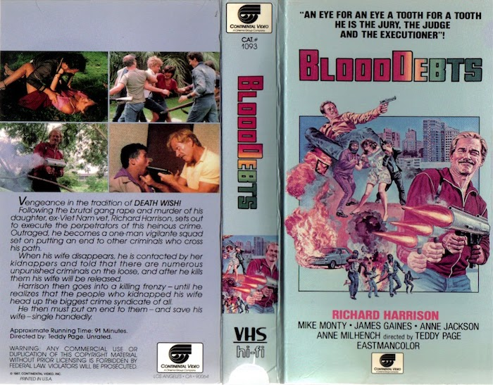 BLOOD DEBTS (1985) VHS box