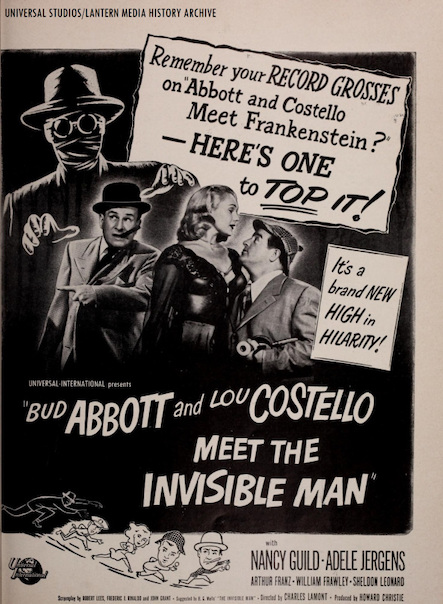 ABBOTT AND COSTELLO MEET THE INVISIBLE MAN (1951) 1951 trade ad