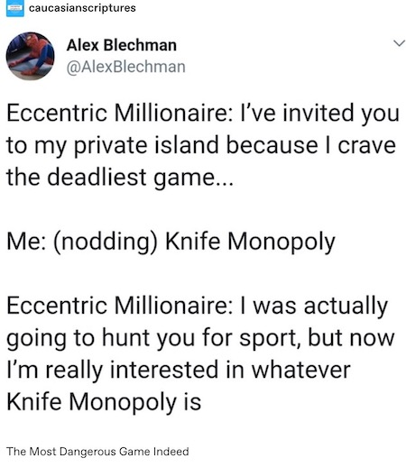 Most Dangerous Game - Knife Monopoly tumblr