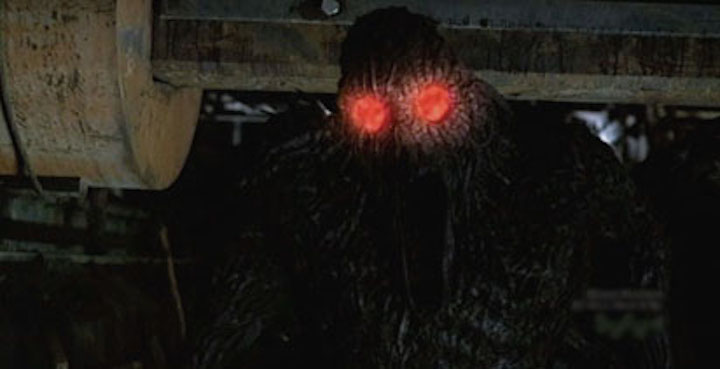 MOTHMAN (2010) Remember in SHORT CIRCUIT 2 when Johnny-5's eyes glowed red when he was angry? This is like that.