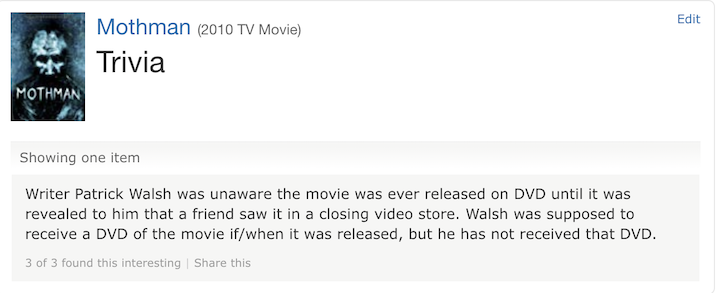 MOTHMAN (2010) the sole, sad bit of trivia on IMDB for this film