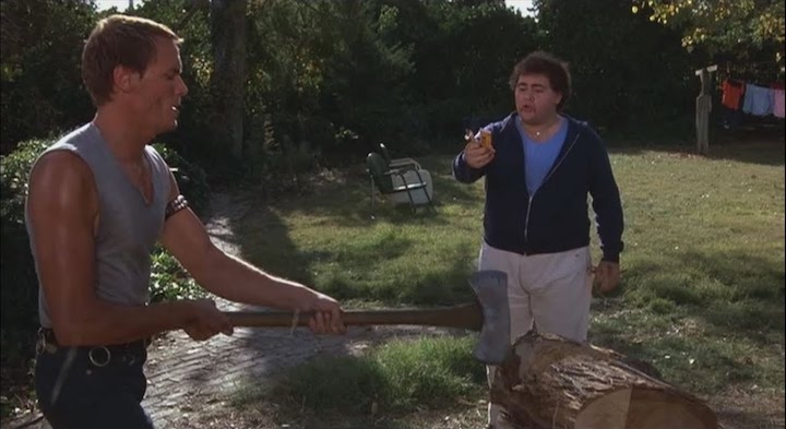 Mark Venturini and Dominick Brascia in FRIDAY THE 13TH PART V A NEW BEGINNING (1985) this retelling of Of Mice And Men is weird