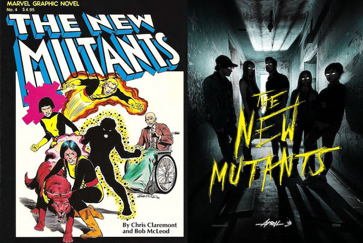 New Mutants graphic novel cover and THE NEW MUTANTS film poster (2020)