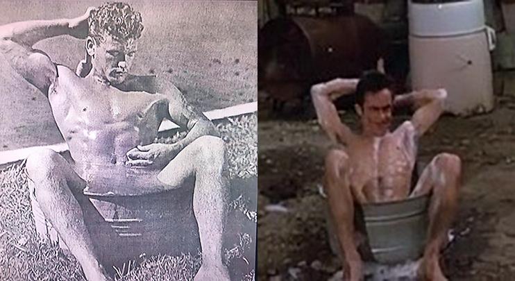 CRY-BABY (1990) Bob Mizer's Photography influence seen in Iggy Pop bathing scene
