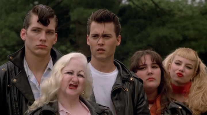 CRY-BABY (1990) Darren E. Burrows, Kim McGuire, Johnny Depp, Ricki Lake, and Traci Lords