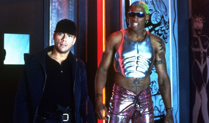DOUBLE TEAM (1997) JCVD and Dennis Rodman hanging out at the club like folks do