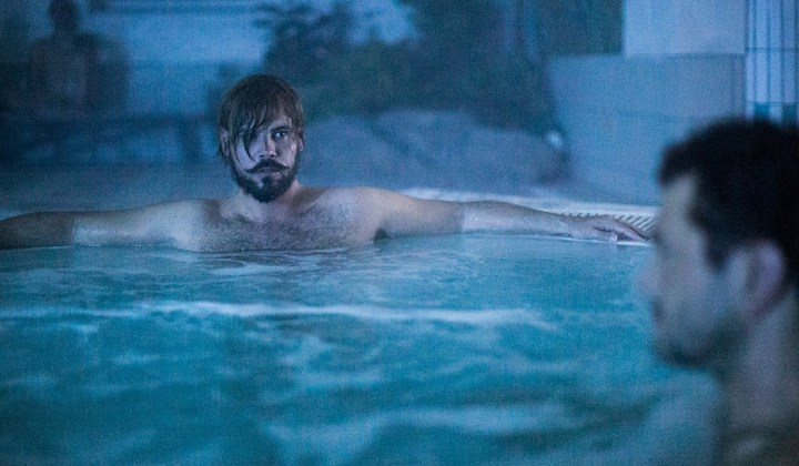 DRIVE ME HOME (2019) Marco D'Amore and Vinicio Marchioni chilling in a hot tub. five feet apart cuz they're not gay (kinda)