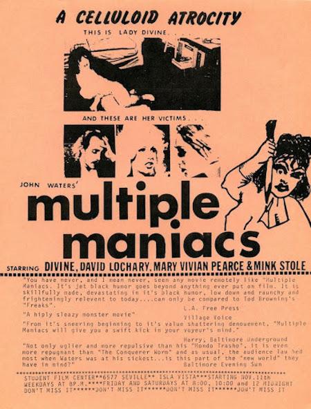 MULTIPLE MANIACS (1970) flyer