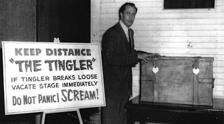 Vincent Price keeps a close eye on THE TINGLER
