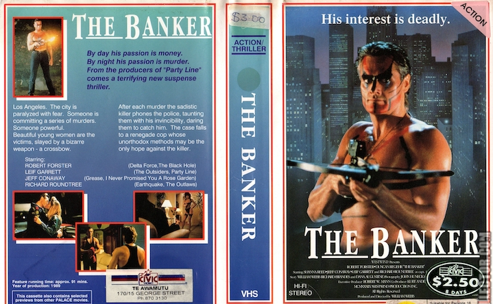 THE BANKER (1989) video box art